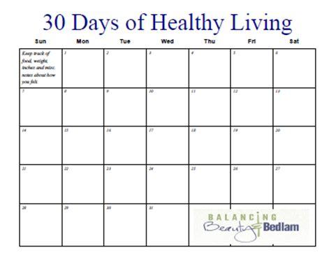 printable fitness calendar days healthy living