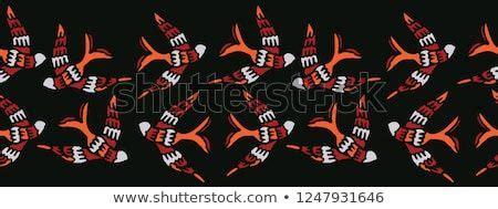 flock  birds flying seamless vector border boho style
