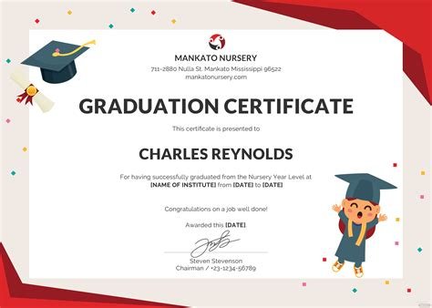 nursery graduation certificate template  psd ms