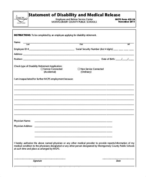 forms of disability social security disability form teacheng us
