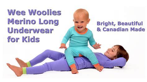 wee woolies merino wool long underwear  kids bright