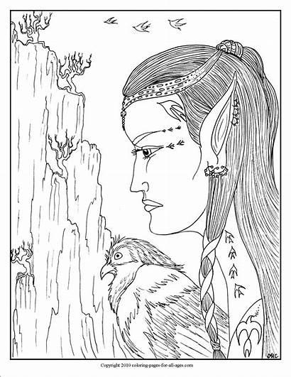 Elf Coloring Huntress Fantasy Pages Hawk Place