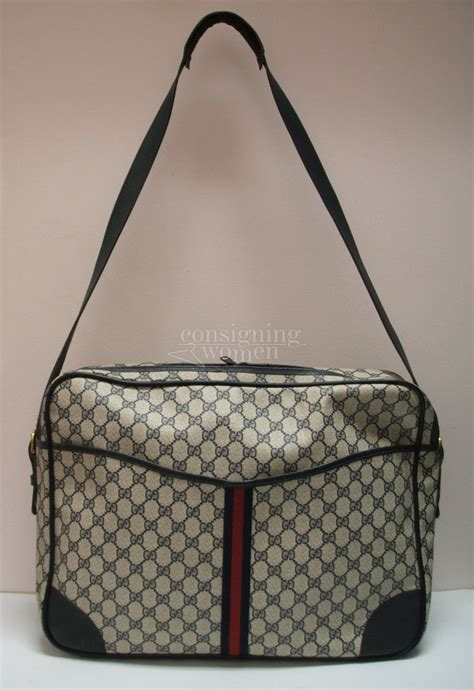 gucci vintage navy monogram large travel messenger bag