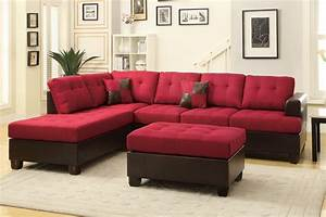 poundex moss f7601 red fabric sectional sofa and ottoman With red fabric sectional sofas