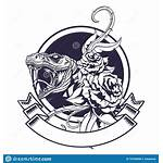 Snake Tattoo Roses Icon Drawn Banner