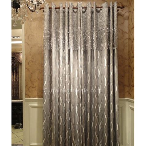 designer blackout curtain with geometric patterned silver