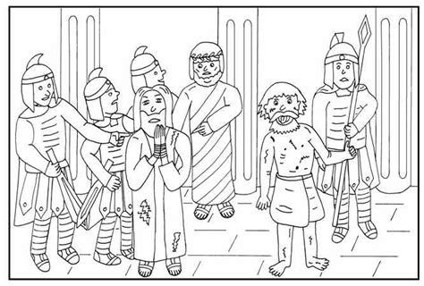 Kleurplaat Jezus Vrienden by Kleurplaten Categorie Pasen Jezus En Barabbas Pasen