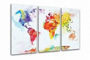 Weltkarte Auf Pinnwand : kunstdruck weltkarte aquarell ~ Markanthonyermac.com Haus und Dekorationen