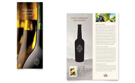 Wine Brochure Template Free by Vineyard Winery Datasheet Template Design