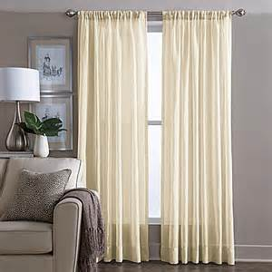 buy wamsutta 174 sheer 108 inch window curtain panel in yellow from bed bath beyond