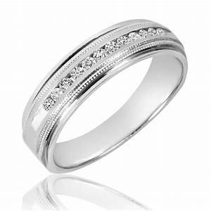 14 CT TW Diamond Men39s Wedding Band 10K White Gold