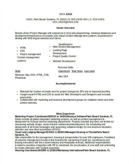 Marketing Project Coordinator Resume Sle by Marketing Resume Sles For Successful Hunters