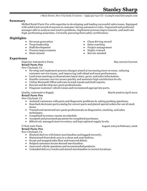 automotive parts automotive parts resume sle