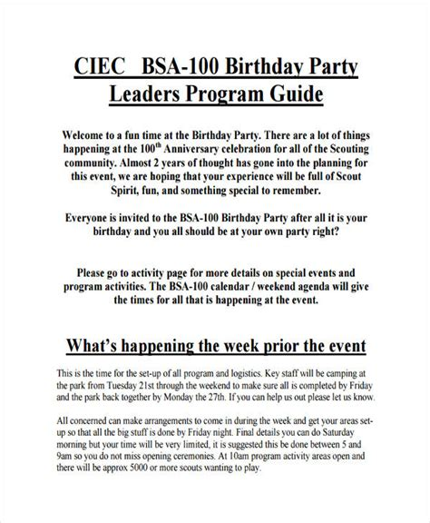party agenda examples   examples