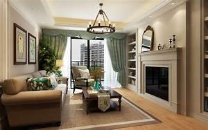 Modern, American, Style, Living, Room, 3d, Model