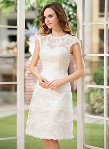 a line princess scoop neck knee length lace wedding dress With robe de confirmation