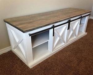 raw restorations sliding barn door tv console living With barn door sofa table