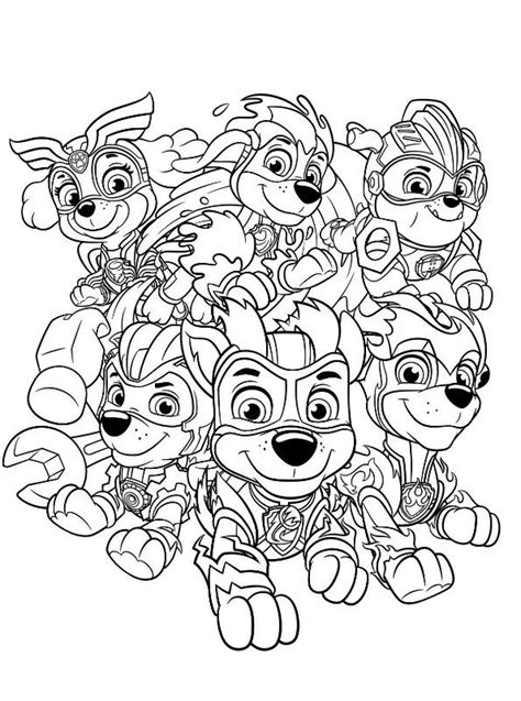 kids  funcom coloring page paw patrol mighty pups charged