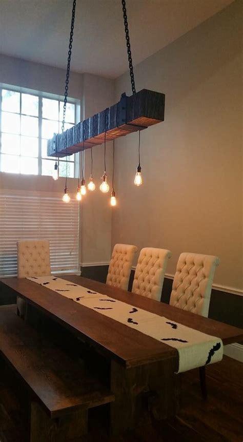 reclaimed wood beam chandelier  edison bulbs fama