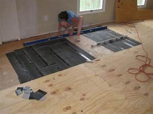 how to level a plywood or osb subfloor using asphalt With how to level floors in a house