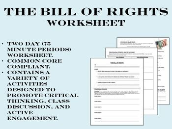 the bill of rights worksheet us history common core tpt