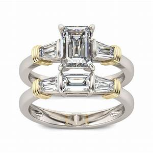 jeulia three stone two tone emerald cut created white With two toned wedding ring sets