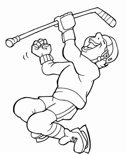 Hockey Coloring Pages Player Goalie Printable Getcoloringpages