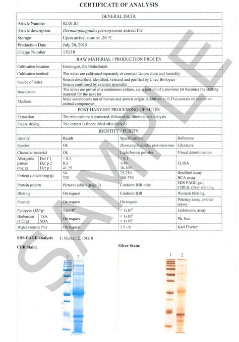 certificate  analysis  pteronyssinus hdm sample citeq