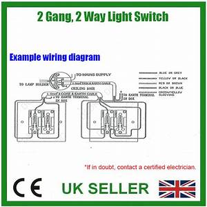 1x 2 Gang 2 Way 230v 10a White Plastic Light Lighting