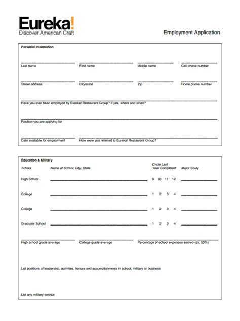Easy Application by Easy Eureka Restaurant Application Form For Bright Career