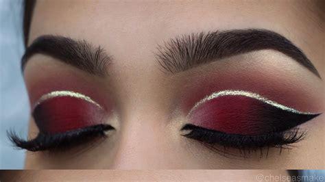 tutorial red cut crease glitter blogtubez