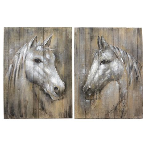 Racing horse and jockey grunge unframed wall art print poster home decor. Ghost of the West Horse Wall Art (Set of 2)