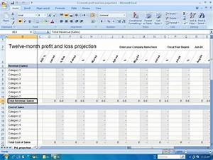 Financial templates 12 month profit and loss projection for 12 month profit and loss projection template