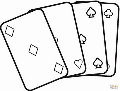 Printable Coloring Cards Playing Deck Pages Dice