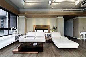 The interior design of modern apartment in an urban style