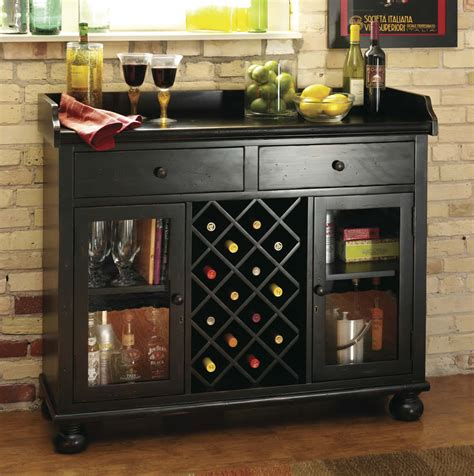 wine and bar cabinet worn black wine bar console stemware glasses spirits