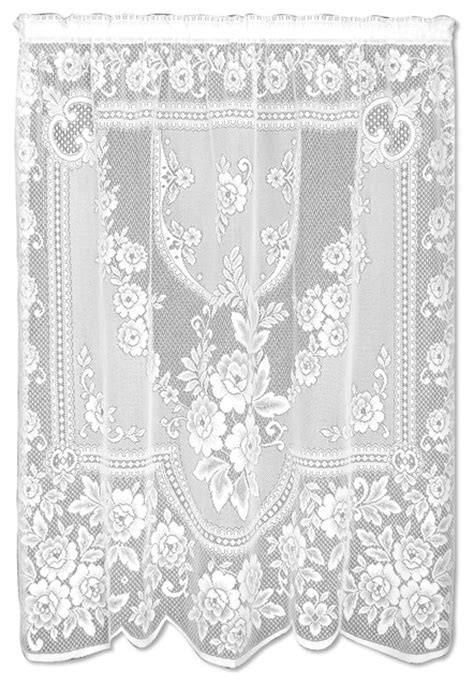 "Victorian Rose Panel, White, 84"" - Farmhouse - Curtains"