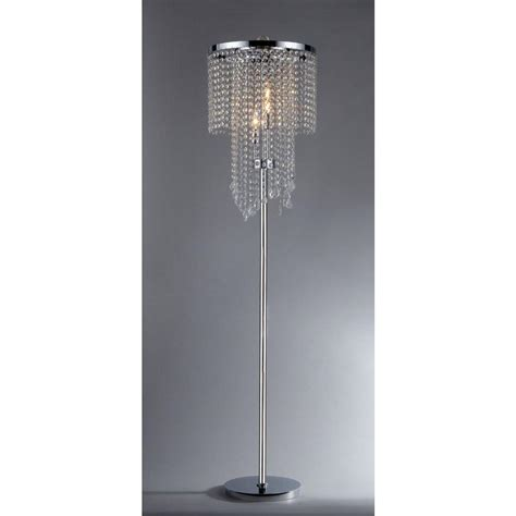 crystal floor standing l warehouse of tiffany diana 63 in 3 light indoor chrome