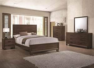 Bedroom, Furniture, Medium, Brown, Queen, Size, Bed, Panel, Unique, 4pc, Set, Matching, Dresser, Mirror