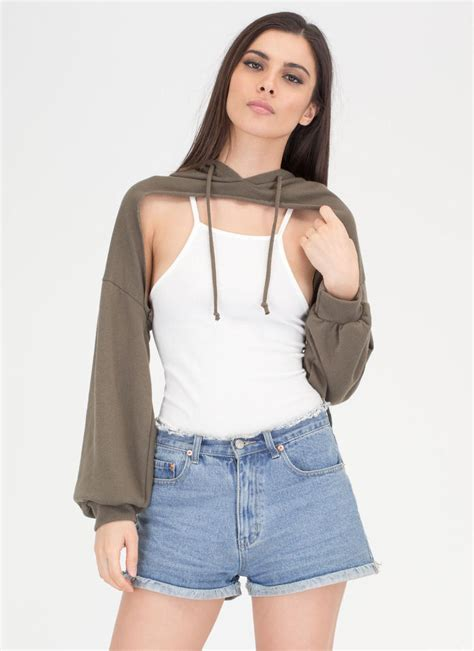 Bust Out High-Low Hoodie Crop Top OLIVE - GoJane.com