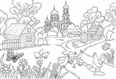 Mewarnai Pemandangan Gambar Coloring Alam Sketsa Untuk