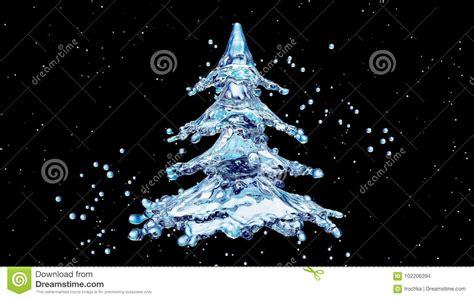 Christmas Water Splash Tree On Black Background Stock