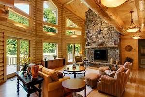 Log home interiors high peaks log homes for Log home interiors