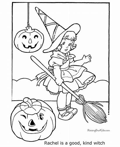 Witch Halloween Coloring Flying Pages Printable Getcoloringpages
