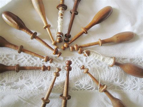 vintage french handmade wooden lace bobbins lace making