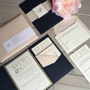 navy blush and gold wedding invitations navy and pink With blush gold and white wedding invitations