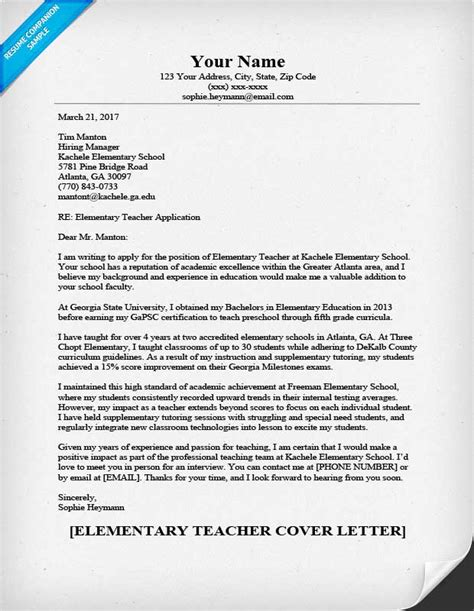 Resume Cover Letters For Teachers by Elementary Cover Letter Sle Guide