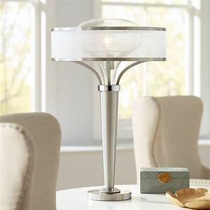 possini, euro, design, modern, table, lamp, brushed, steel, metal, tapered, body, double, glass, mesh, drum
