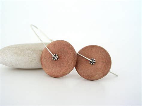 brown disc clay earrings ceramic faux air dry clay