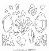 Crystals Line Coloring Graphic Crystal Drawing Drawn Pastel Vector Adults Isolated Shutterstock Educationstander Watercolor Graphique Cristal Uploaded sketch template